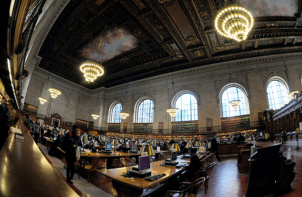 The reading room inside New York Public Library (NYPL), 42nd Street, NYC by Karen Strunks
