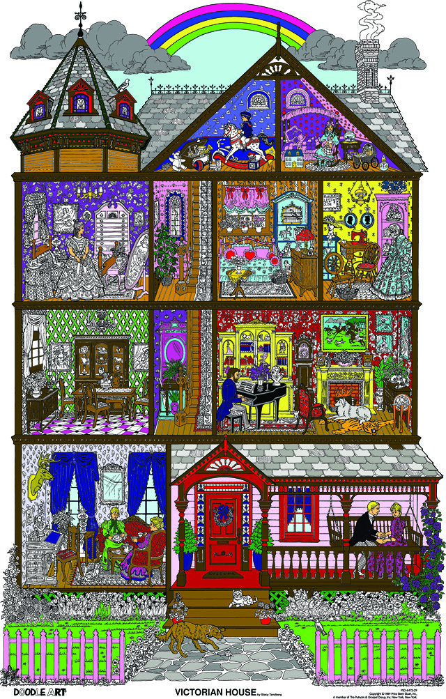 Doodle Art Victorian House Coloring Page Poster