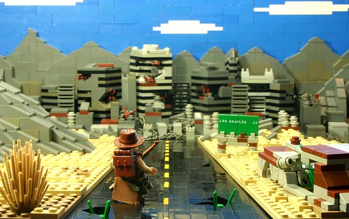 LEGO forced-perspective Alas Los Angeles post-apoc diorama