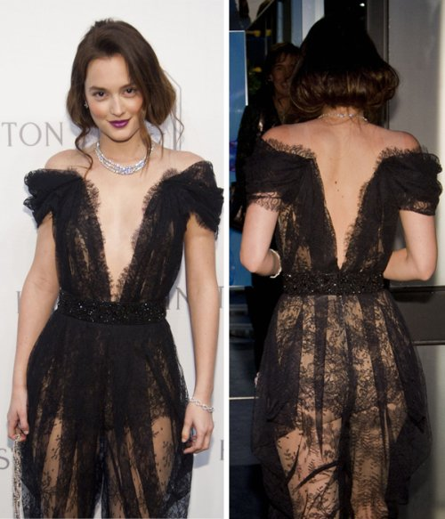 Leighton Meester black lace Marchesa