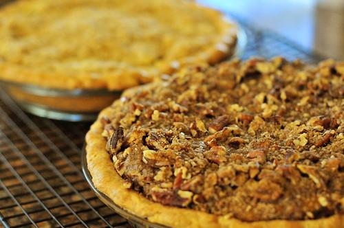 Sour Cream Apple pie and Pecan Crumb pumpkin pie