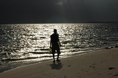 Walking Alone in the Light...♥¨`» (RíchÝ) Tags: light sea moon reflection beach water beautiful silhouette night alone awesome brilliant
