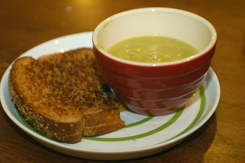 split pea and grilled cheese