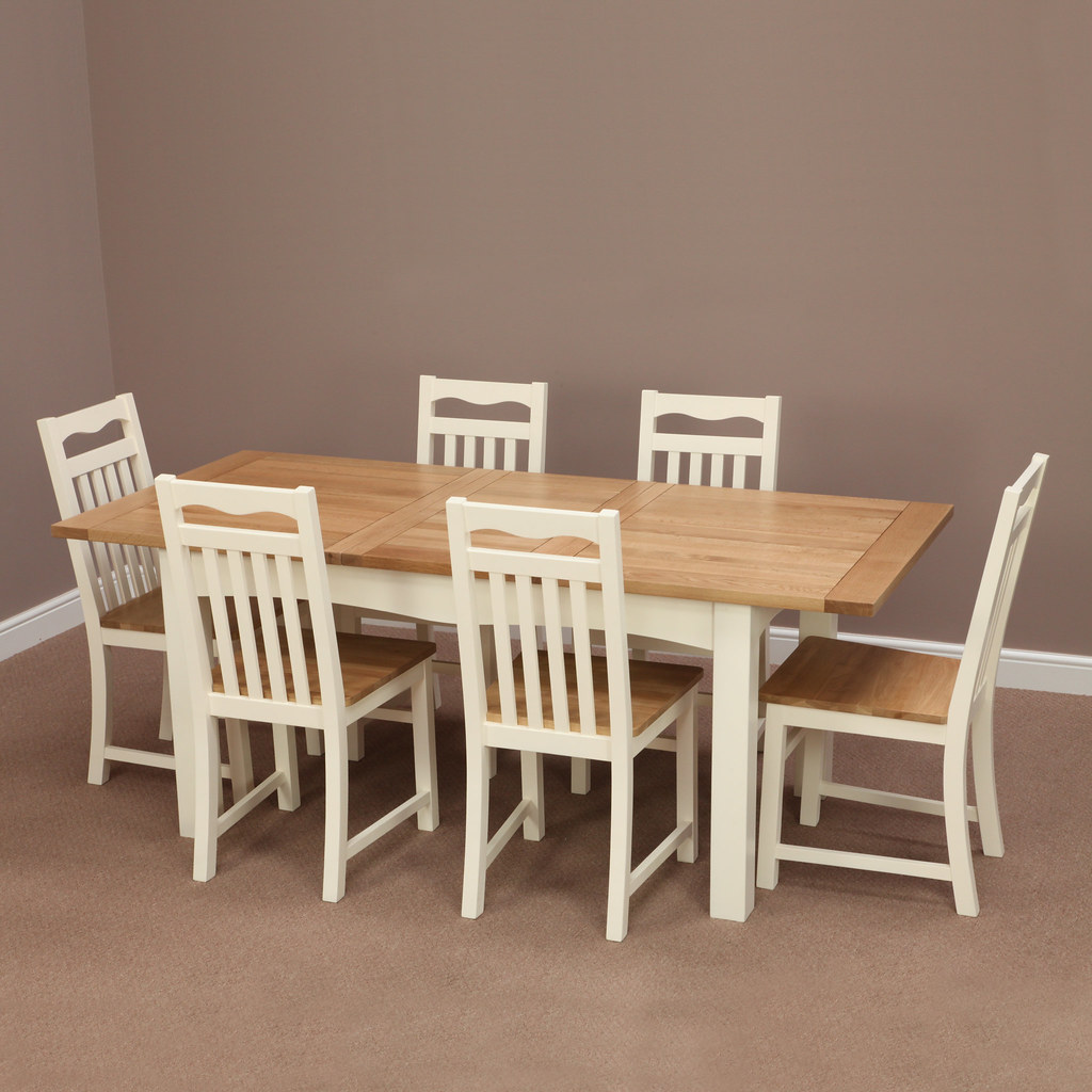 Cotswold Cream Painted Solid Oak Extending Dining Table 6 Chairs Furniture Land