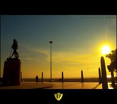 Morning hues (Kals Pics) Tags: morning blue sun india beach silhouette yellow statue marina sunrise canon gandhi chennai hue tamilnadu 50d 18200is