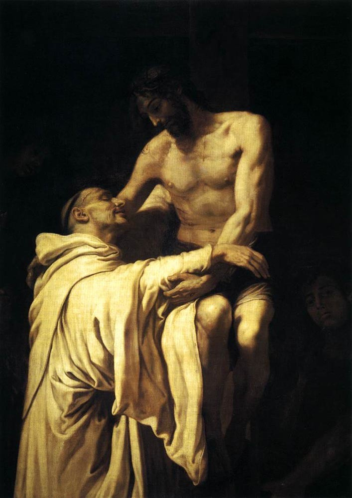 Francisco Ribalta (Spanish, 1565-1628) Christ Embracing Saint Bernard (c. 1625) Oil on canvas. 113 by 158 cm. Museo del Prado, Madrid.
