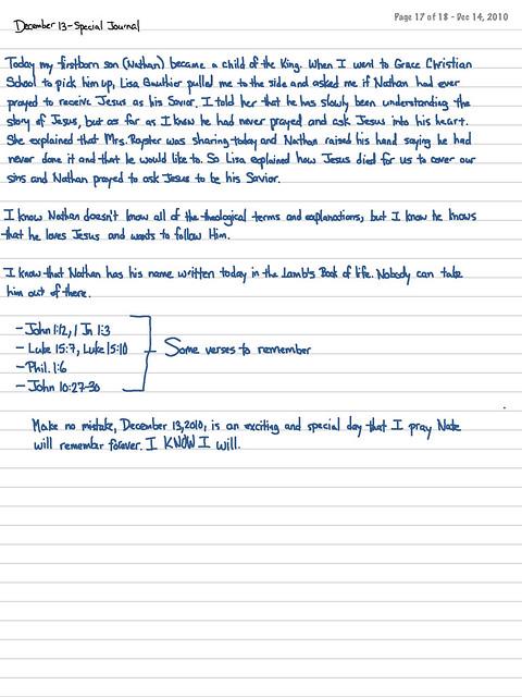 Journal for December 13, 2010