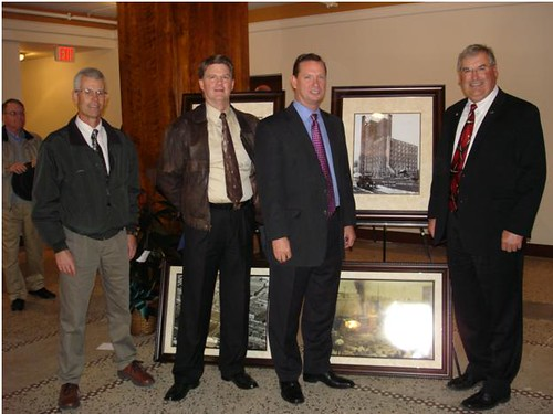 Pictured from left to right in the restored lobby of the Besse Hotel:  Randy Snider, Iola Area Office Director; Dale Yager, Multi Family Housing Specialist; Gary Hassenflu, President, Garrison Community Development, LLC; and Tim Rogers, Housing Programs Director.