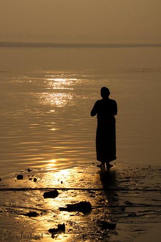 morning prayer at ganga river