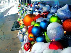 Christmas Ornaments in Downtown Clayton, NC (2010) (apswartz) Tags: christmas street winter decorations light snow cold color reflection ice colors shop bright clayton northcarolina sidewalk ornaments creativecommons hdr claytonnc christmas2010 ncjohnstoncounty