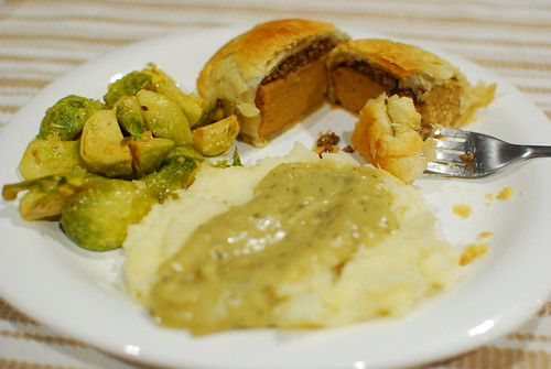 Seitan Wellington, Mashed Potatoes with Gravy, and Brussels Sprouts
