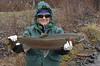 Roberta lands a Big Beautiful wild Trinity River Buck Steelhead