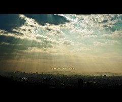 118/365 Smogopolis (brandonhuang) Tags: city light sky cloud sun sunlight mountain black building silhouette fog clouds buildings dark landscape smog view smoke pollution metropolis burst brandonhuang smogopolis