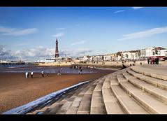 Blackpool beach, Explored (Ianmoran1970) Tags: blue sea sky tower beach wheel wall golden pier ferris explore jar blackpool mile explored ianmoran ianmoran1970