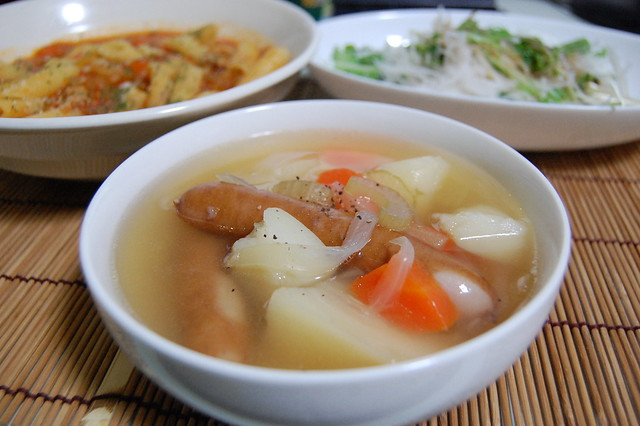 ジャガイモたっぷりのソーセージ入りスープは満足感があります! #jisui