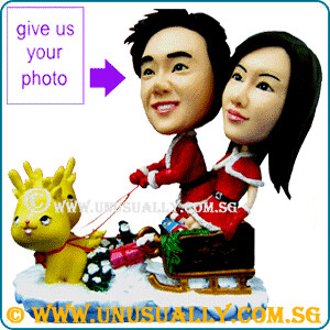 Personalized 3D Lovely Santa Couple Figurines