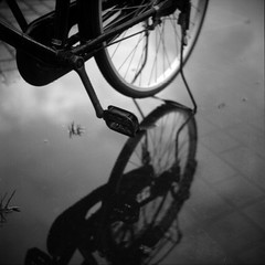 * (-nasruddinmukhtar-) Tags: blackandwhite bw reflection 120 6x6 tlr monochrome bicycle japan analog mediumformat square ss fujifilm mf neopan 100 analogue nut expired  nagaoka nigata singletrack   ricohflex gidai model7 nasruddin nasruddinmukhtar