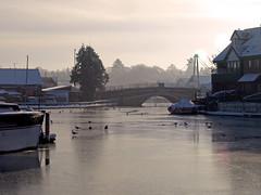 Wroxham Bridge (Gerry Balding) Tags: bridge winter england snow cold ice water birds river boats norfolk freezing eastanglia norfolkbroads wroxham riverbure