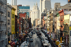 East Broadway, Chinatown, New York City (andrew c mace) Tags: nyc newyorkcity winter snow newyork skyline chinatown day cityscape manhattan snowstorm manhattanbridge polarizer blizzard lowermanhattan municipalbuilding eastbroadway woolworthbuilding colorefex beekmantower nikoncapturenx nikkor35mm nikond90