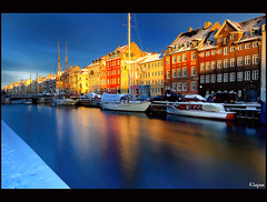 Nyhavn (Kader Lagraa) Tags: city blue light sky test white house snow color reflection beautiful beauty architecture composition contrast copenhagen lens landscape denmark boats photography mirror nyhavn photo amazing interesting nikon long exposure shot angle image harbour ships feel wide saturation charming capture grad learn vr density lense sense danemark neutral copenhague 1635 kader nd400 1635mm nd8 abdelkader d700 lagraa klagraa