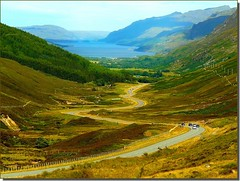 Winding roads of Scotland (jackfre2 (on a trip-voyage-reis-reise)) Tags: road forest landscape scotland highlands scenery view wildlife fences glen winding hikers loch tress climbers torridon westerross shieldaigh mygearandmepremium mygearandmebronze mygearandmesilver