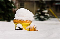 Snow Drift Fire Hydrant (Kurayba) Tags: winter orange snow canada film yellow hydrant 35mm canon fire edmonton kodak buried tx iso alberta 200 asa 135 portra 800 drift f33 kitstar