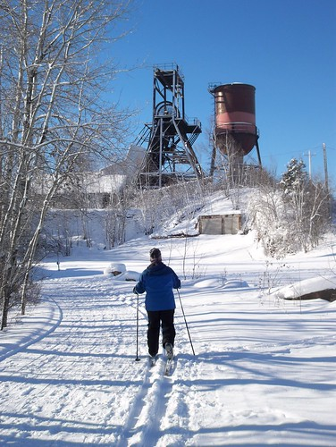 Skiing near the Pioneer Mine Headframe