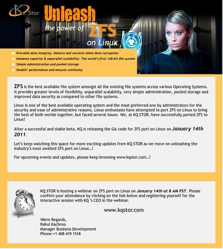 ZFS for Linux beharangozó