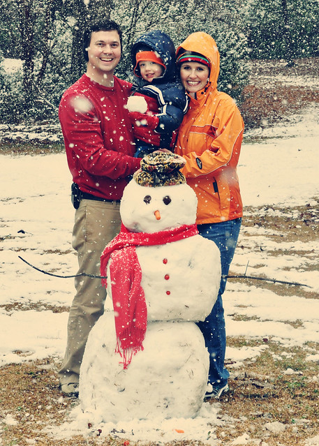 fam pic with snowman 5x7 vintage