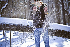 (tyreke.white) Tags: blue orange brown white snow tree yellow nikon bokeh branches falling jeans jacket hood d5000