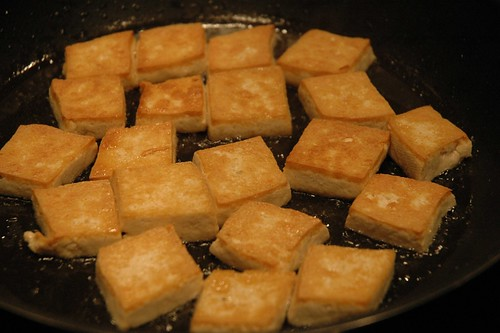 Pan-fried golden tofu