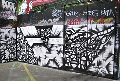 South Bank Graffiti - London (farg4graf) Tags: color colour london colors graveyard dead graffiti design artwork stencil shoes paint artist colours south bank tags aerosol skateboards skill bridge nozzles london south can bank cemetery millennium graveyard graffiti spray broken boards skate skateboard