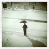 Sion in the Snow (Sion+Anton) Tags: portrait umbrella squareformat snowcoveredstreet ©antonkawasaki sionfullanastandinginthemiddleofthestreet