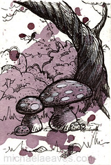 forest with wine (Michaela_) Tags: tree mushroom forest ink painting sketch woods drawing bushes shrubs winestain aminita deathcaps paintmetalandmud