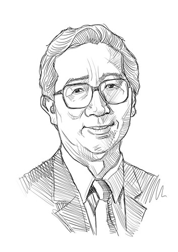 Digital portrait sketch of B Tan