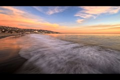 beach painting (Eric 5D Mark III) Tags: ocean california blue sunset sky people orange usa cloud seascape painterly motion color reflection beach yellow canon painting landscape town unitedstates horizon wave atmosphere orangecounty tone lagunabeach ef14mmf28liiusm eos5dmarkii