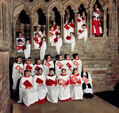 Cathedral Choir on the refectory steps c.1988 (cathedralchoir) Tags: slickr rogerfisher