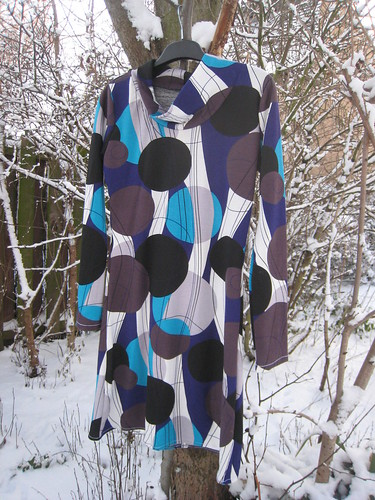 Abstract print cowl dress