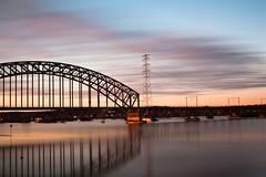 High water in the Rhine river - the railway bridge #2 ( Boeyen ) Tags: bridge bw netherlands canon river flood arnhem 110 nederland railway nd brug rhine highwater rijn overstroming gelderland rivier spoorbrug hoogwater nederrijn