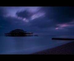 Long exposure West Pier (JK x) Tags: ocean blue sea west beach clouds sussex pier brighton long exposure shore