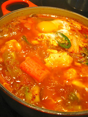 Hot and Spicy Korean Tofu Meat Stew
