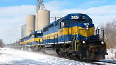 DM&E 6080 East, Through Stillman Valley, Illinois (basicbill) Tags: railroad ice train illinois rail canadianpacific railfan