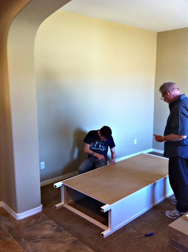 Dad and Hank putting together our wall of bookshelves
