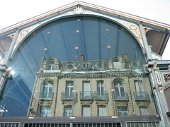 a world inside (Ladybadtiming) Tags: roof reflection building glass architecture dijon market sunny structure mirrored form