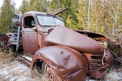 A fixer upper (thomevered) Tags: auto old trees sky ontario canada abandoned truck junk rust automobile flickr sony wheels rusty tire forgotten halton a700 sigma1020 haltonregion mcleans mcleansautowreckers
