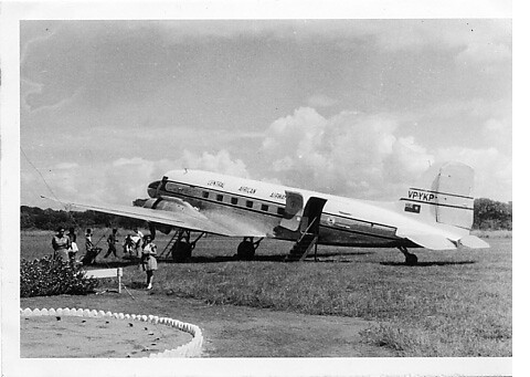 Our arrival at the Aerodrome, Lilongwe, Nyasaland, mid 1950s.
