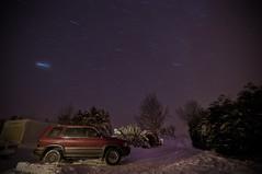 (Dan_Sim) Tags: trees winter sky snow tree car night stars star long exposure 15 nightime nightsky minutes startrails startrail