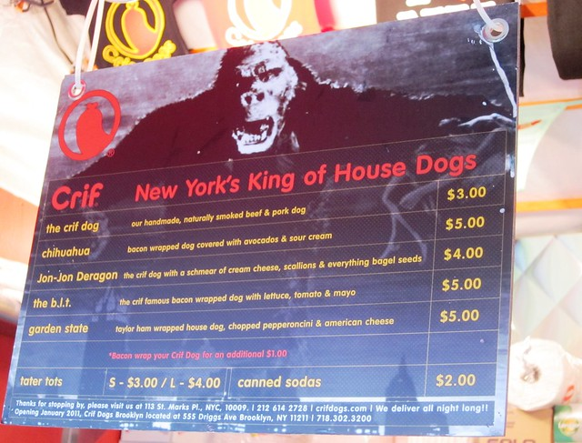 Crif Dogs menu