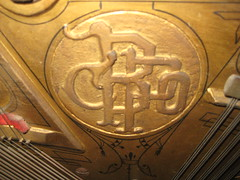 FOR SALE: Berlin Piano - brass logo detail (Ponyta!) Tags: music ontario berlin montral antique montreal victorian piano kitchener beethoven restored classical upright mozart musique vivaldi droit classique victorien restaur