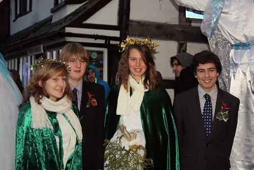 Left to Right - The attendants Evie Grove (Deputy Head Girl) & George Dicken (Deputy Head Boy) The Mistletoe Queen Alice Williams, the Holly Price Oliver Palethorpe.